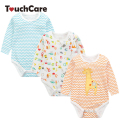 3Pcs/Lot Infant Soft Cotton Baby Boy Girl Rompers Cute Cartoon Giraffe Striped Toddler Jumpsuit Long Sleeve Letter Kids Clothes