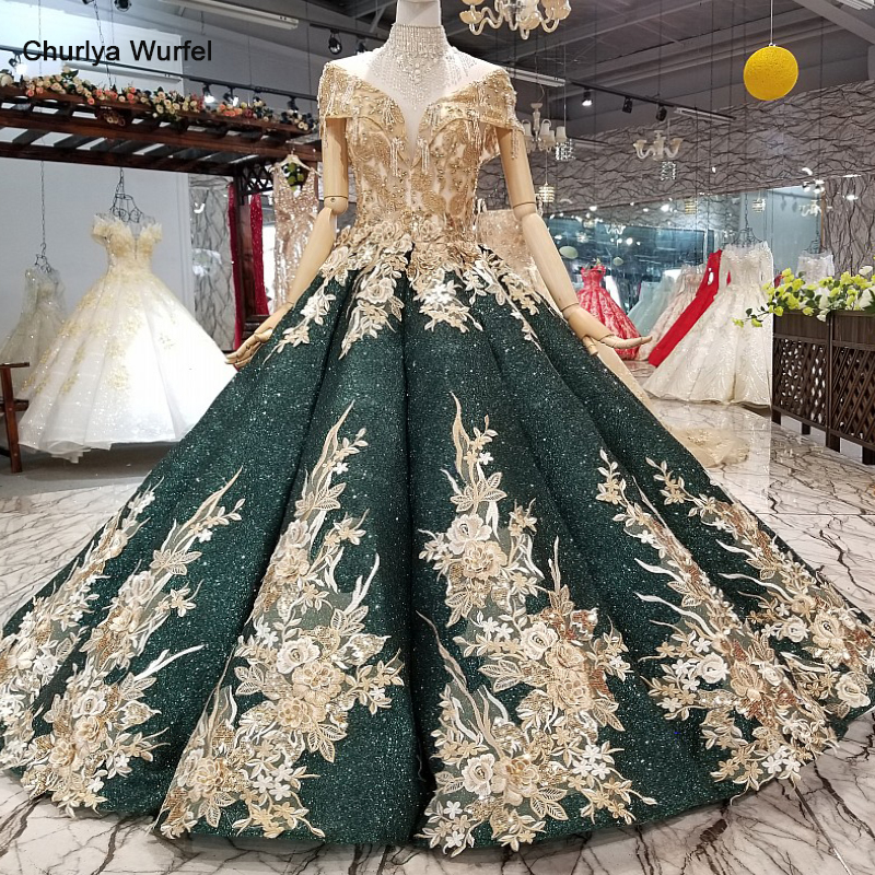 LS741653 golden lace flowers shiny ball gown evening dress off shoulder sweetheart dresses with crystal necklace for mothers