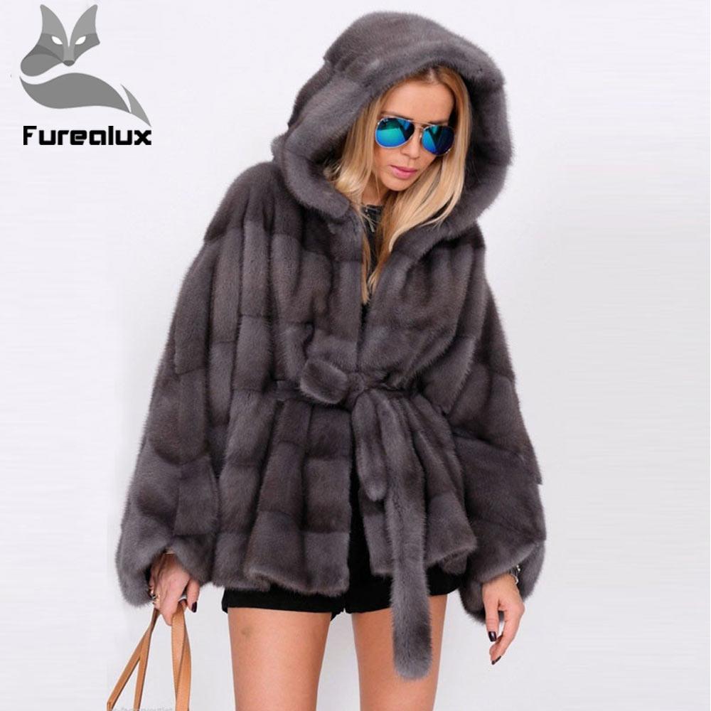 Furealux Real Fur Coat Women Bat Sleeved Winter Thick Warm Mink Fur Coat With Hood Luxury Female Mink Fur Jacket