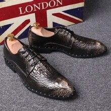 2017 Мужская обувь моды Кожа Обувь мужская Скольжения На Обувь Из Натуральной Кожи Высокого Качества Крокодил кожаный шнурок размер 39-44