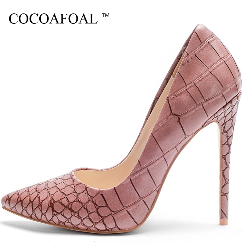 COCOAFOAL Women's High Heels Shoes Sexy Heel Bridal Shoes Woman Pointed Toe Stiletto Plus Size 33 43 Heels Pumps Green Pink 2018