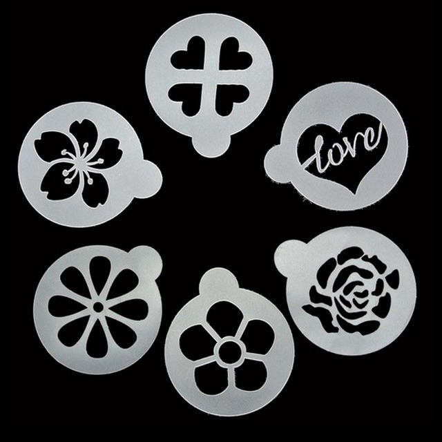 6Pcs  Lot Flower Love Cake Decorating Stencils Cookie Latte Stencil     6Pcs  Lot Flower Love Cake Decorating Stencils Cookie Latte Stencil Coffee  Mould Decor Barista Duster