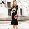 LD LINDA DELLA Runway Brand Women Elegant 3/4 Sleeve Flower Embroidery Party Wear Sexy Elegant Black Mermaid Dresses Bodycon