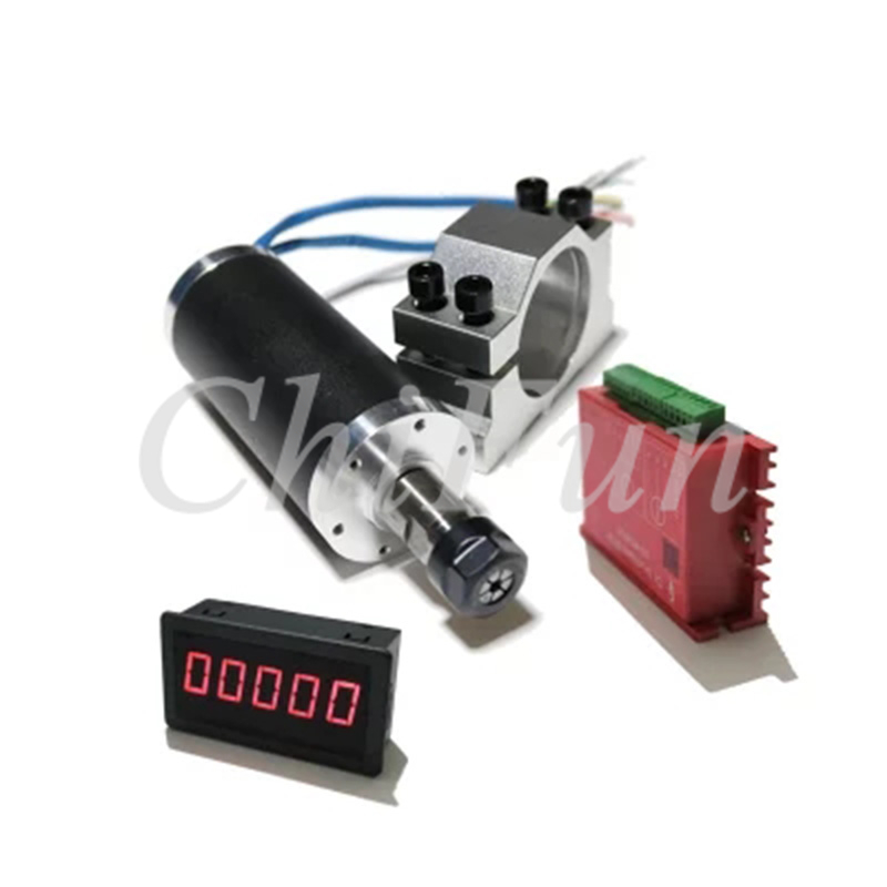 Mini engraving machine spindle motor kit 250W high speed brushless motorized spindle 42mm clamp drive plate