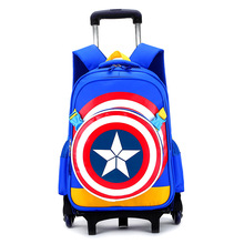 New Primary School Trolley Bags Captain America Children Anime Backpack Schoolbag Child with Wheels ;School