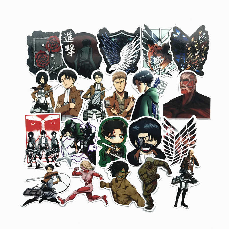 2 style 21Pcs/Lot Attack on Titan waterproof 2019 Stickers For Decal Snowboard  Luggage Car Fridge Car- Styling Sticker Pegatina
