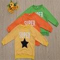 814 # de la alta calidad 100% algodón ropa de los niños estrellas patrón niños camiseta larga
