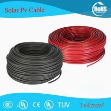 20 metros 4mm2 (12awg) fio solar fotovoltaico vermelho ou preto fio de cabo solar condutor de cobre xlpe revestimento tuv certifiction