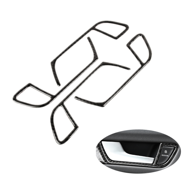 For Audi A4 B8 2009 2010 2011 2012 2013 2014 2015 2016 Carbon Fiber Door Handle Panel Door Bowl Frame Cover Sticker Trim-in Interior Mouldings from Automobiles & Motorcycles