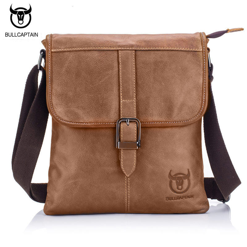 BULL CAPTAIN 2017 Borsa vintage in vera pelle Uomo Piping Design Crossbody Shoulder Bag Borse piccole per uomo Borse Messenger
