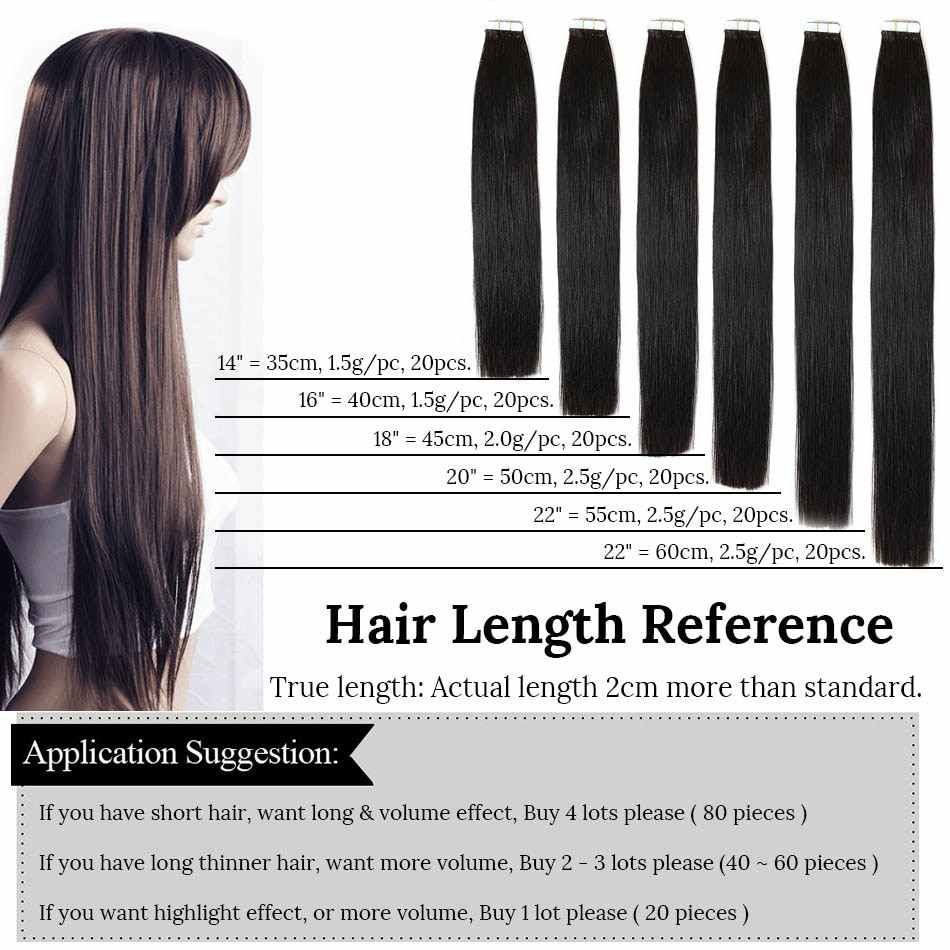 """MRS HAIR Tape In Human Hair Extensions  14""""-24"""" Non Remy Hair On Tape PU Skin Weft Seamless Human Hair 20pcs"""
