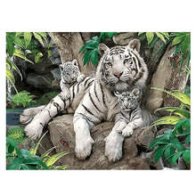 40x50cm Diy Oil Paint By Numbers Kit Tiger Family,Animal,Painting