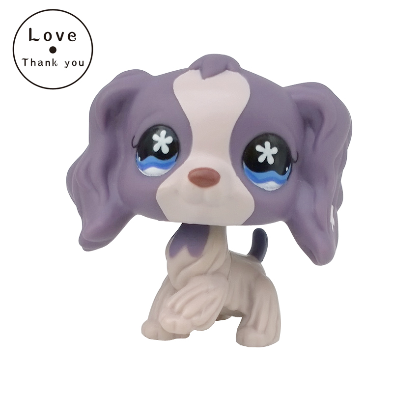pet shop toys SPANIEL dog #672 Light Dark purple puppy with star blue eyes pet shop toys dachshund 932 bronw sausage dog star pink eyes
