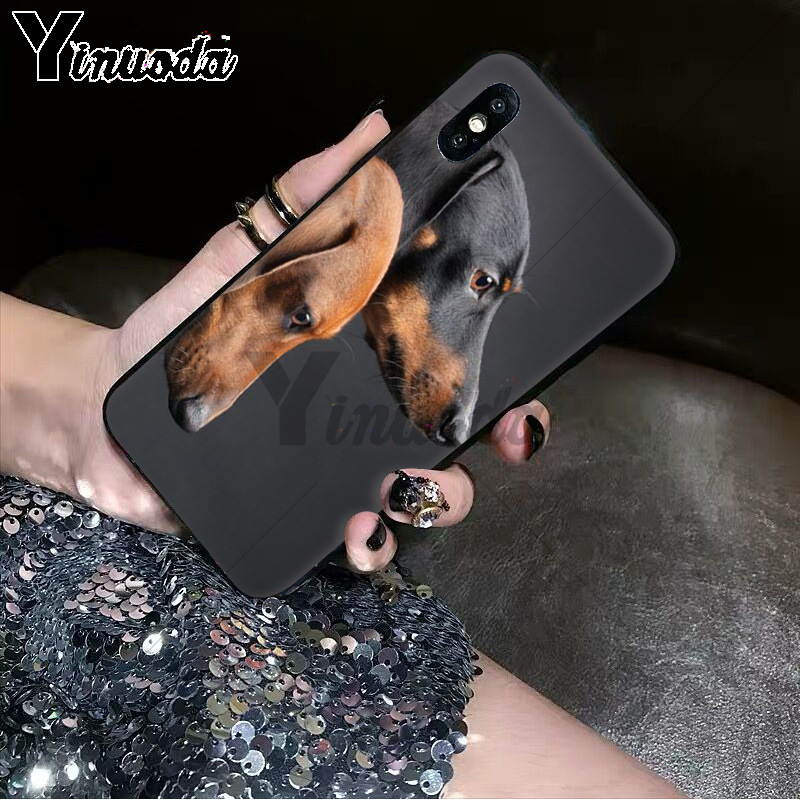 Yinuoda Dachshund Silhouette Dog TPU Soft Silicone Black Phone Case for iPhone 8 7 6 6S Plus 5 5S SE XR X XS MAX Coque Shell