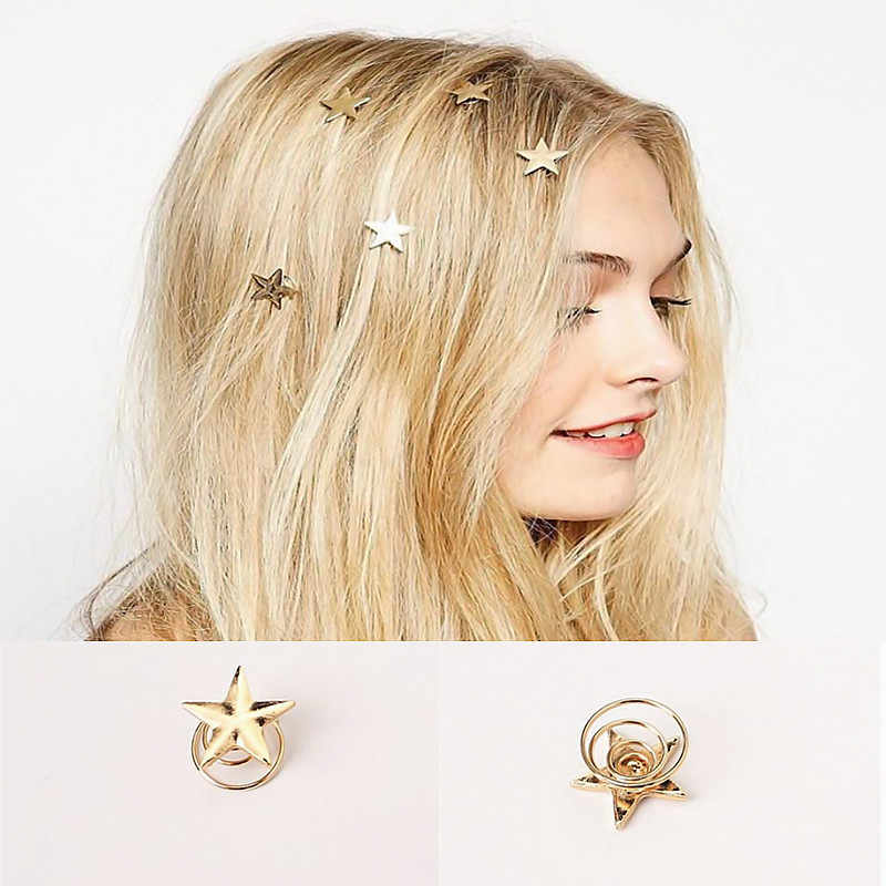 New Fashion Hairwear Gold Color Stars Shaped Hairpin Hair Sticks Hairbands For Women Girl Hair Styling Tools t17