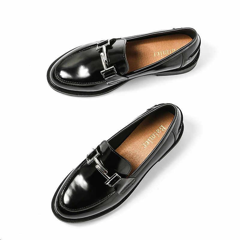 2019 Metal toka dekorasyon Oxford ayakkabı kadın Patent deri Moccasins Flats bayanlar kızlar günlük mokasen ayakkabı Espadrilles sürüngen