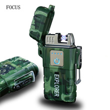 Explorer Outdoor Use Waterproof Windproof Double Arc Pulse Plasma Cigarette Smoking Lighter USB Charging Electric Metal