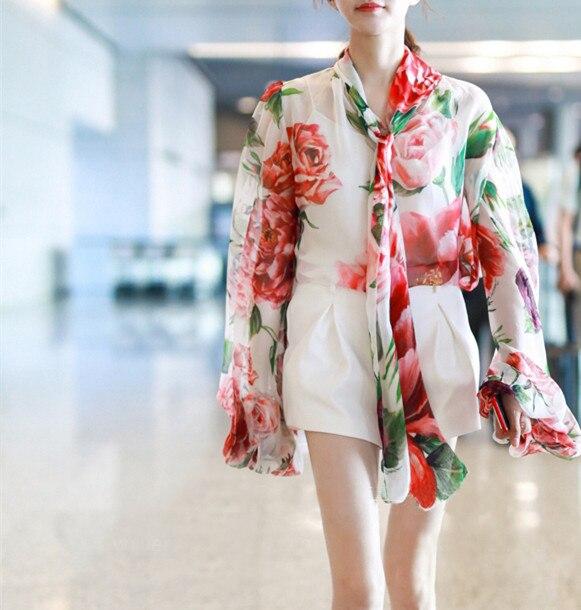 2018 Chemisier Automne Mousseline De Fleurs Whitney Bureau En Chemise Multi Streetwear Femmes Dame Tops Blusas Wang Imprimé Mode Soie p0n5w