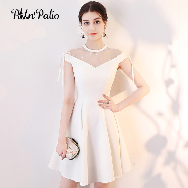 Elegant Simple White Cocktail Dresses Off The Shoulder Short Formal