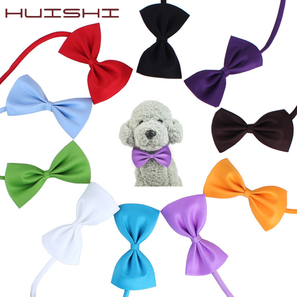 HUISHI Wholesale Dog Cat Rabbit Accessories Adjustable Pet Bowtie Mix Neck Tie Polyester Ribbon Multicolor Pet Animal Bowties