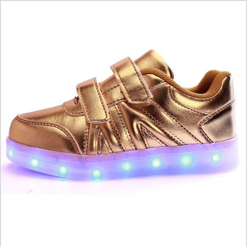 2016 New Fashion Sneaker With LED Lights Colorful Running Casual Shoes for Kids Children Boys and Girls Enfant Walking Shoes PU 4