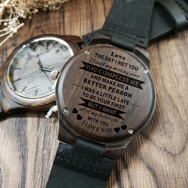 Personalized Wooden Custom Watch for Men Boyfriend Gifts Engraved Confirm Text for Black Sandalwood Watch Can't Change the Text 5