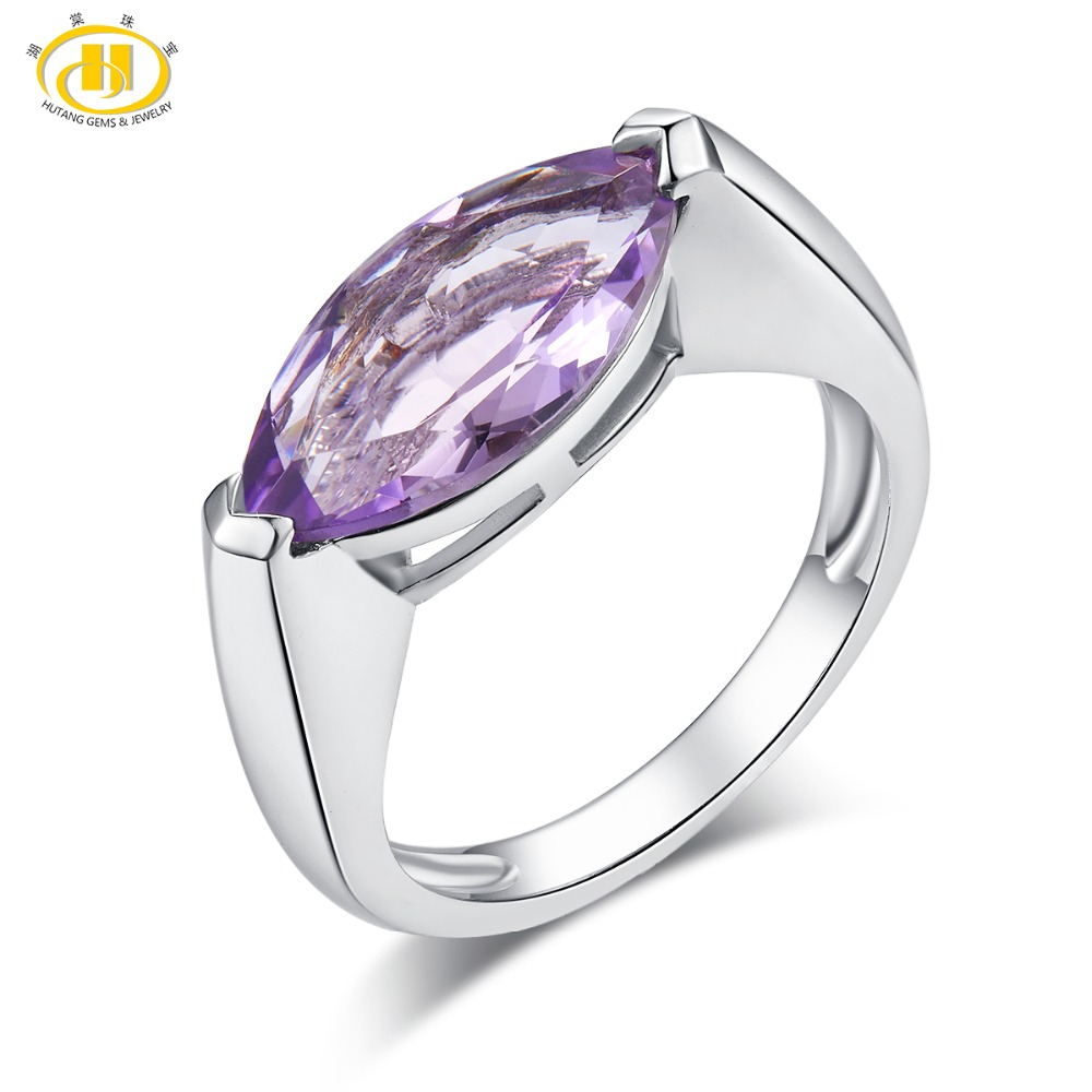 Hutang 4.75ct Amethyst Engagement Ring Natural Gemstone Solid 925 Sterling Silver Fine Fashion Jewelry For Womens Best Gift NewHutang 4.75ct Amethyst Engagement Ring Natural Gemstone Solid 925 Sterling Silver Fine Fashion Jewelry For Womens Best Gift New