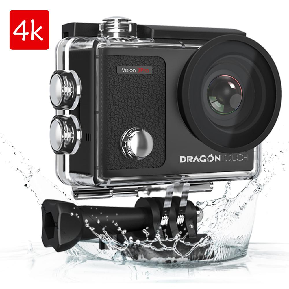 Dragon Touch 4K Action Camera 16MP Vision 3 Pro WIFI 100ft Waterproof Camera with Touch Screen 170°Wide Angle Sport camera