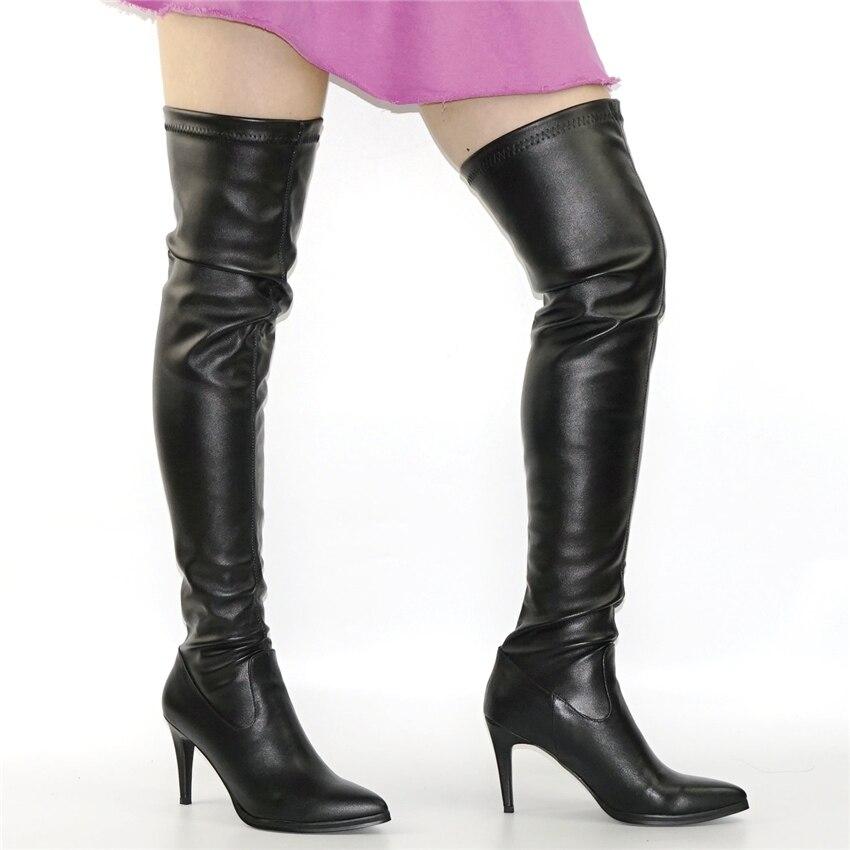 NAYIDUYUN Mujer Cuero de vaca negro Punta estrecha Muslo Botas altas - Zapatos de mujer