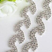 AIWUJIA 1Yard Shinny Beautiful Stunning Leaf Rhinestone Trim Wedding Dress Trimming Silver Tone Sew On Costume Cup Crystal