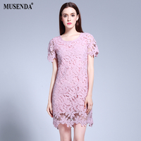 MUSENDA Plus Size Women Slim Hollow Out Lace Short Pink Dress 2017 Summer Sundress Lady Casual Fashion Brief Cute Party Dresses
