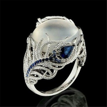 Lady Elegant Huge Moonstone Wedding Party Bride Ring Engagement Blue Rhinestone Crystal Jewelry