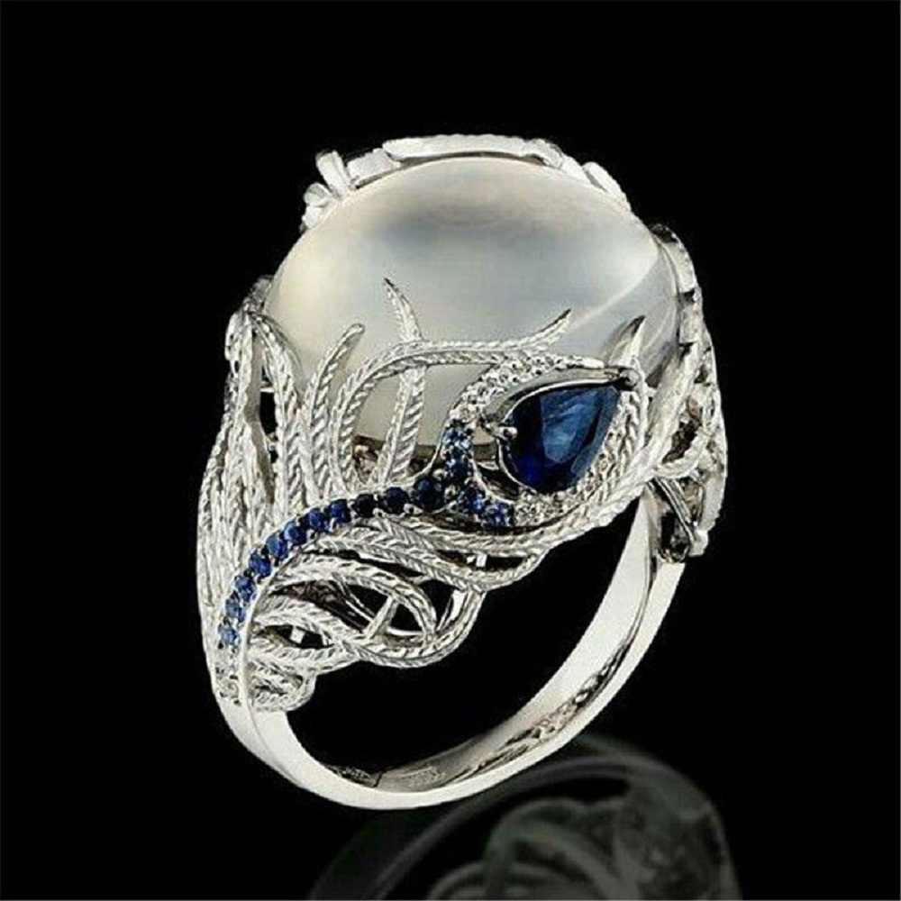 Fashion Women Lady Elegant  Huge Moonstone Wedding Party Bride Ring Engagement Blue Rhinestone Crystal Rings Jewelry