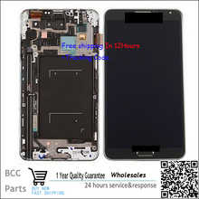 For Samsung note3 N9005  original guarantee  LCD display+Touch screen Panel Digitizer with frame