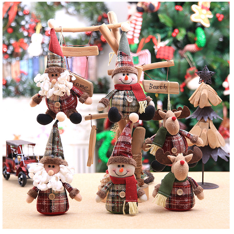 2019 Merry Christmas Tree Ornaments Christmas Decorations for Home New Year gift Children Snowflake Elk Plaid Doll Hanging Natal (16)
