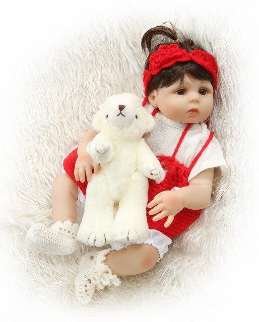 Reborn Dolls Full Silicone Body Newborn Girl Doll Baby Toy With Teddy Bear 1