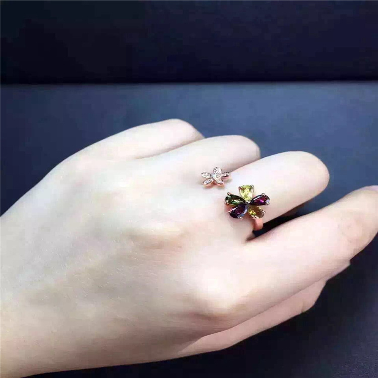 Image 3 - KJJEAXCMY fine jewelry S925 silver tourmaline size of plum flower opening ring jewelry natural gem parcel post.Rings   -