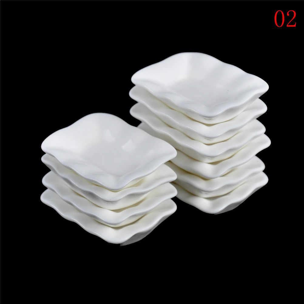 10 sztuk/zestaw trwałe Mini jedzenie białe naczynia zastawa stołowa miniaturowe lalki akcesoria do domu domek dla lalek tace talerze lalki kuchenne zabawki