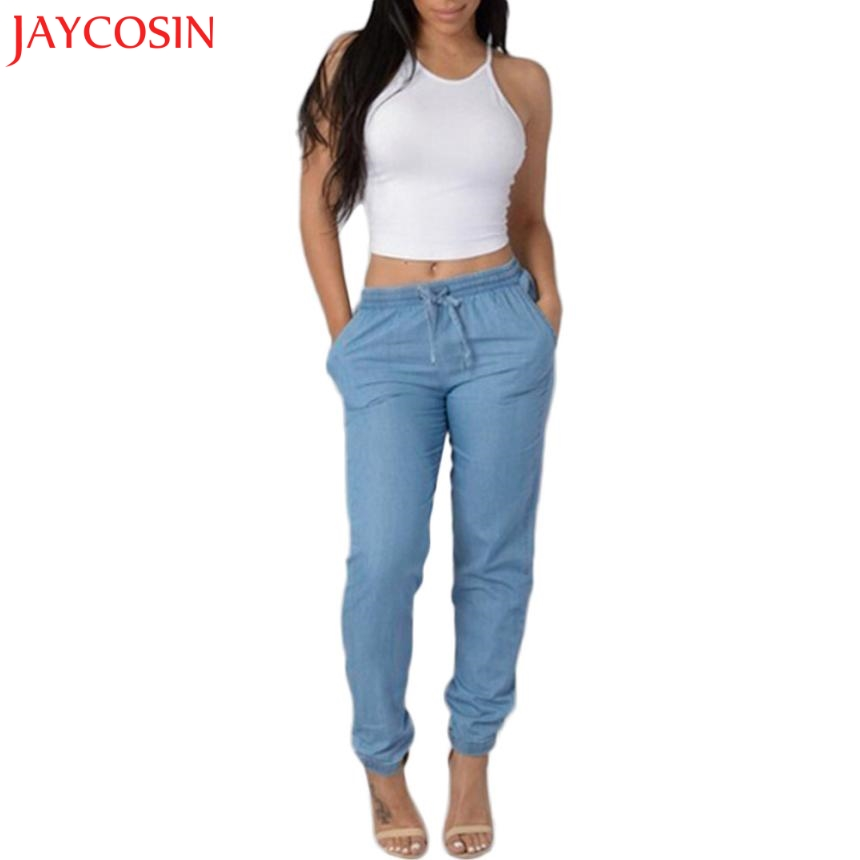 JAYCOSIN Womens Elastic Waist Casual Pants High Waist   Jeans   Casual Blue Denim Pants z0809