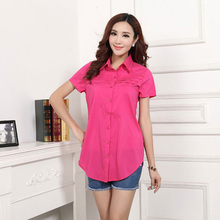 2015 summer long cotton shirt loose to increase short-sleeved casual large size women 5xl 6xl