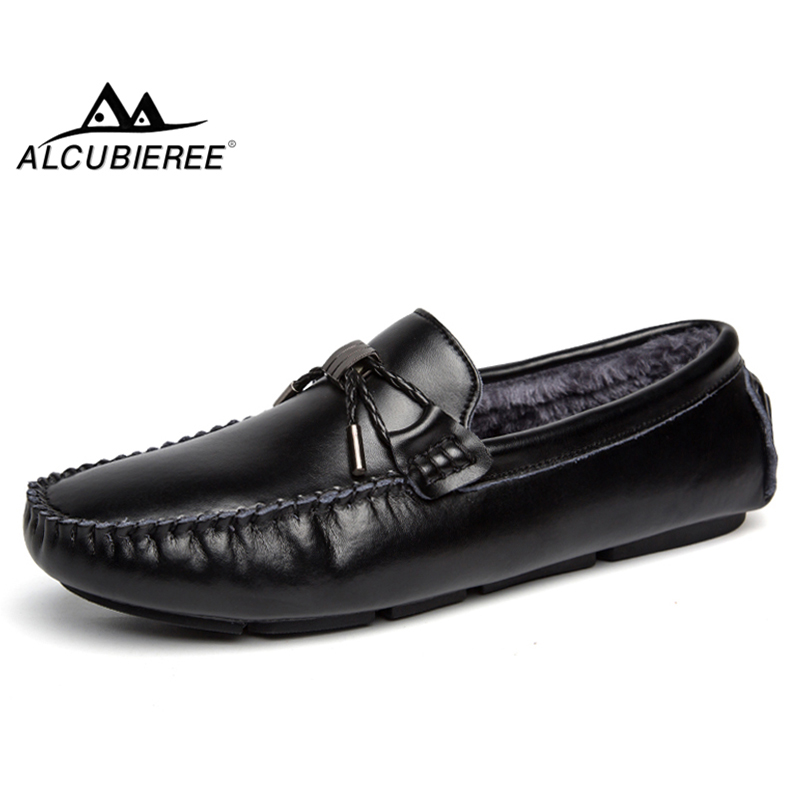 ALCUBIEREE Winter Warm Moccasins Mens Fur Lined Boat Shoes Fashion Bowtie Driving Shoes Male Loafers Outdoor Lightweight Shoes