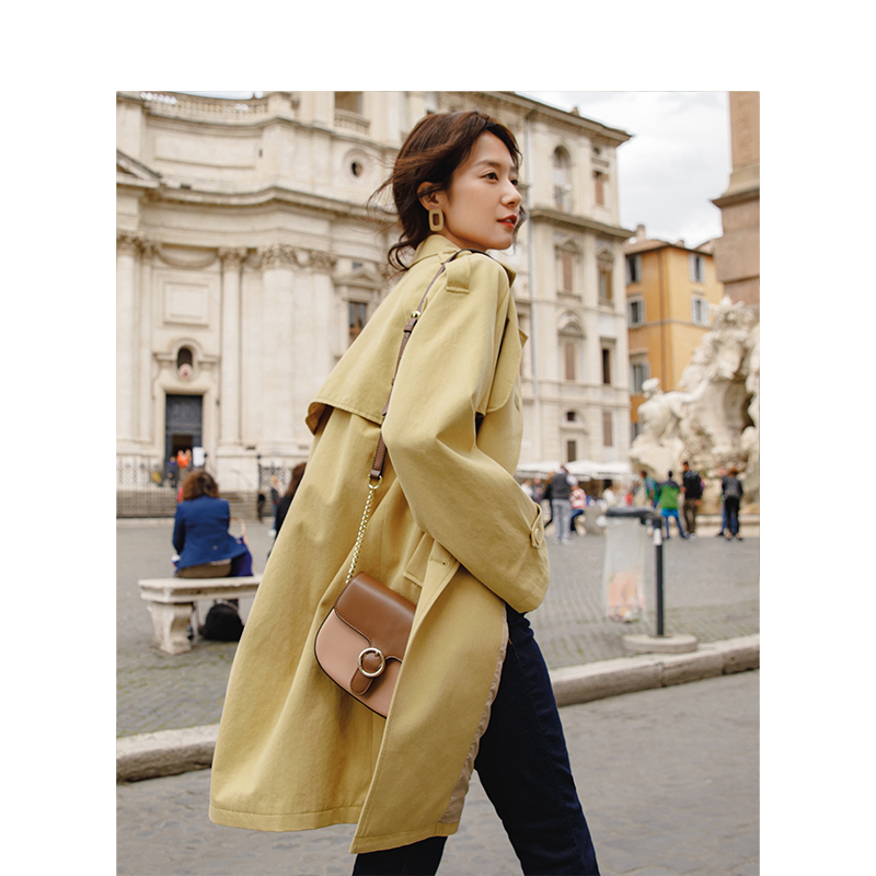 INMAN 2019 Spring Autumn Cotton Solid Color Women Double Breasted Turn Down Collar Fashion   Trench   Coat