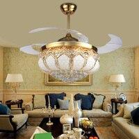 52นิ้วที่ทันสมัยนำทองคริสตัลพัดลมเพดานที่มีไฟระยะไกลชุดสำหรับห้องนั่งเล่นร้านอาหารห้อง...