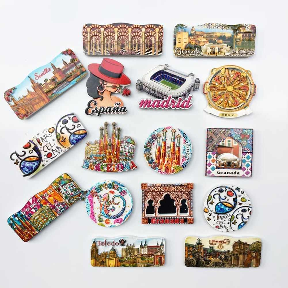 BABELEMI 1pcs Hot Spain Madrid Barcelona Toledo Granada Fridge Magnet Souvenirs Refrigerator Magnets Stickers Gift Home Decor