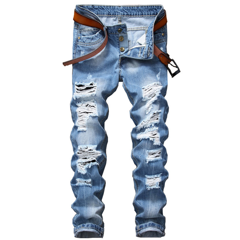 2017 Designer Men's Ripped Jeans Pants Slim Fit Light Blue Denim Joggers Male Distressed Destroyed Trousers Button Fly Pants  цена и фото