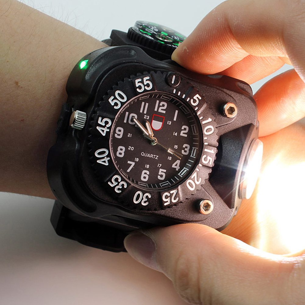 OHSEN Super Bright Led Watch Flashlight Torch lights Compass Outdoor Sports Men Watch Waterproof Rechargeable Wristwatch Lamp super bright led watch flashlight torch lights compass outdoor sports mens fashion waterproof rechargeable wrist watch lamp