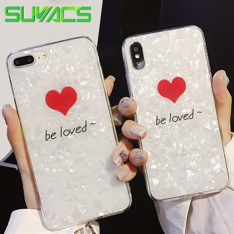 SUYACS Glossy Graphic Phone Case For iPhone 6 6S 7 8 Plus X Red Hearts be loved Shiny Shell Soft Silicone TPU Cases Back Cover
