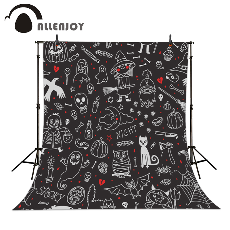 Allenjoy Photographic backdrop Blackboard Witch Cat Owl Baby Lovely Party Vinyl Halloween Photocall backgrounds for photo studio new original 516 300 s335 s4 d warranty for two year