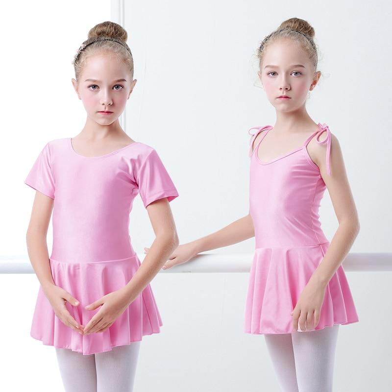 Shiny Spandex Ballet Dress Camisole Gymnastics Dress Girls Kids Ballet Dance Leotards With Skirt