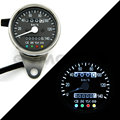 CAFE RACER 60MM Stainless mechanical odometer speedometer Black Face/White LED with indicator lights 0-140KM/H free shipping